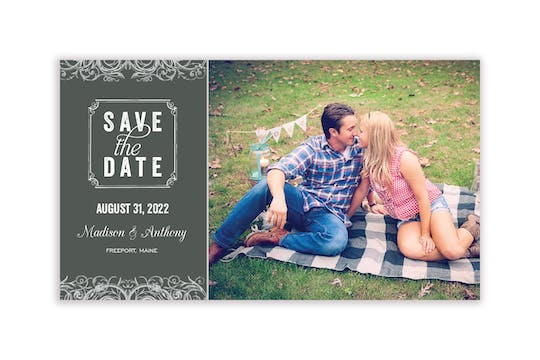 Scrolls Slate Photo Save The Date Magnet
