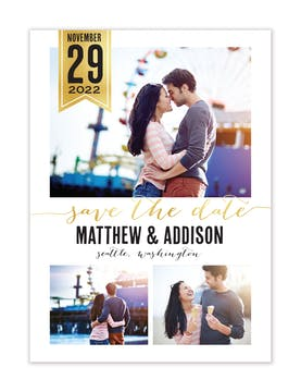 Chic Banner Photo Save The Date Magnet