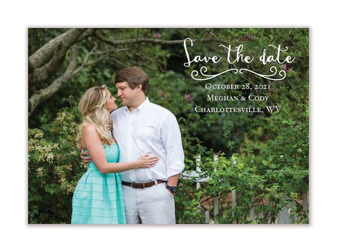 Calligraphy Love Photo Save The Date Magnet