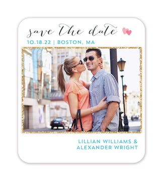Glitter Frame Photo Save The Date Magnet