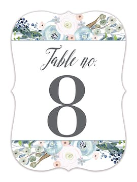 Watercolor Florals Table Card-Flat
