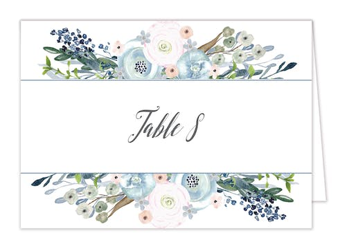 Watercolor Florals Table Card-Folded