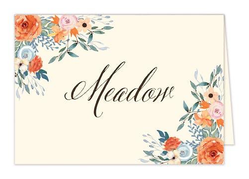 Fresh Floral Table Card-Folded