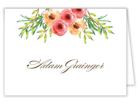 Watercolor Florals Folded Place Card