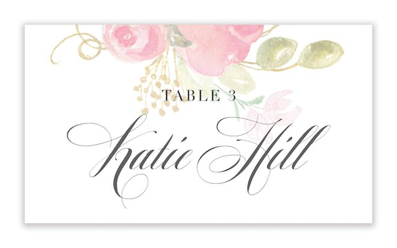 Blooming Bouquet Flat Placecard