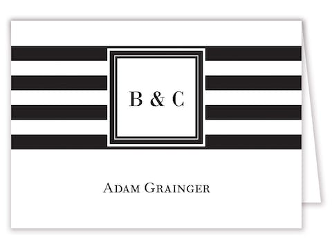 Black and White Stripes Placecard