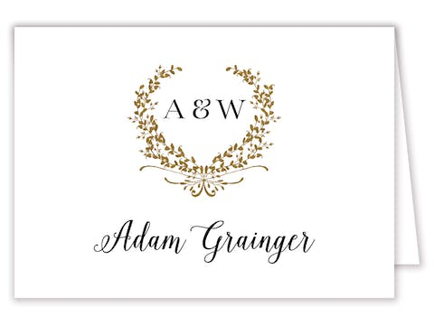 Gleaming Wreath Foil-Pressed Placecard