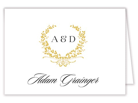 Gold Wreath Folded Place Card
