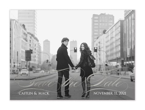 Foil Flourish Foil-Pressed Save The Date Photo Card