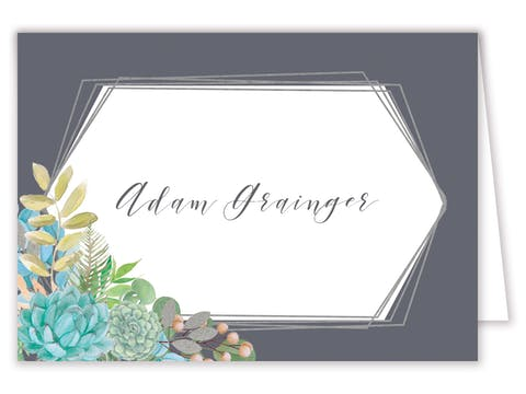 Bright Succulents Foil-Pressed Placecard