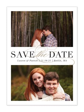 Formal Duo White Save The Date Photo Card