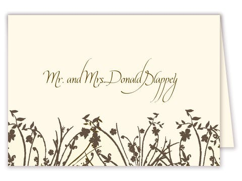 Brown branch placecard on IVORY