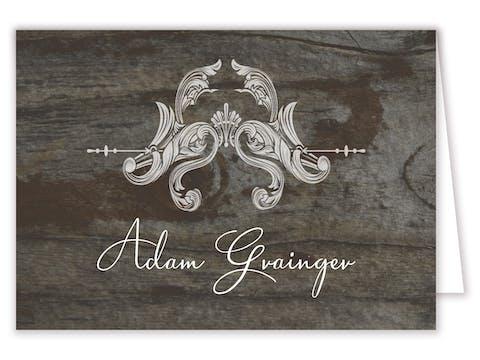 Ornate Wreath On Wood Folded Place Card