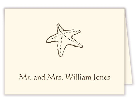 Brown starfish placecard on IVORY