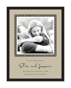 Dotted Border Black & Taupe Flat Photo Save The Date Card