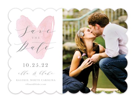 Watercolor Heart Save The Date-Photo