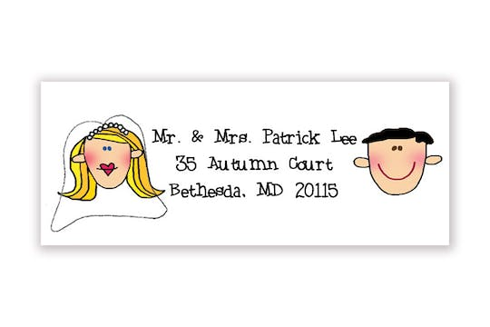 Personalized Character Bride and Groom Address Label