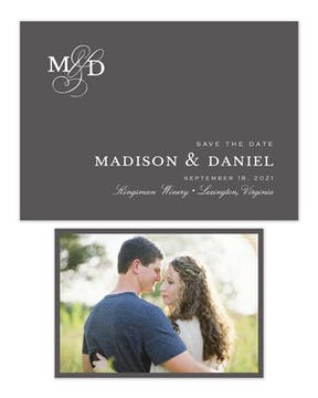Modern Monogram Charcoal Save The Date Photo Card