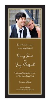 Classic White Border On Black & Chocolate Flat Photo Save The Date Card
