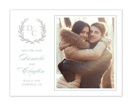 Provincial Garland Photo Save The Date Card