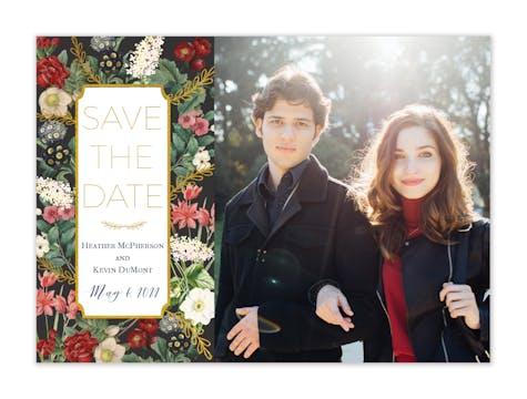 Foil Floral Foil-Pressed Save The Date Photo Card