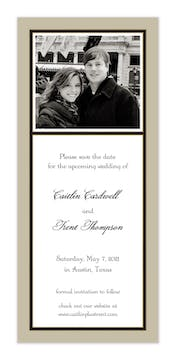 Classic Black Border On Taupe & White Flat Photo Save The Date Card