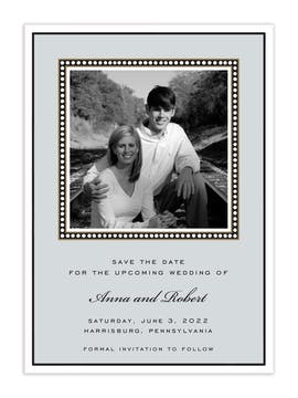 Dotted Border Silver Flat Photo Save The Date Card