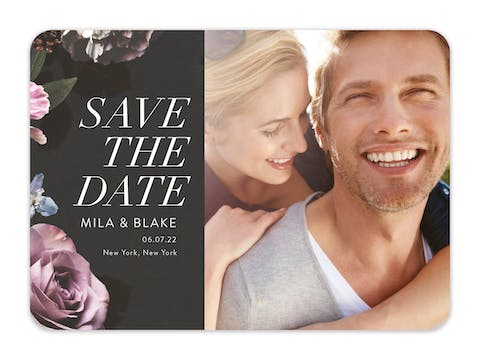 Midnight Floral Save The Date-Photo