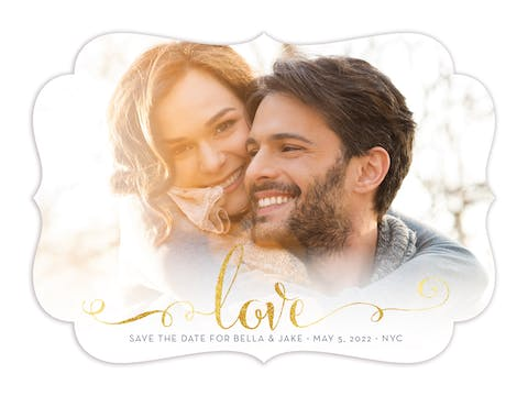 Glowing Love Foil Pressed Save The Date Card