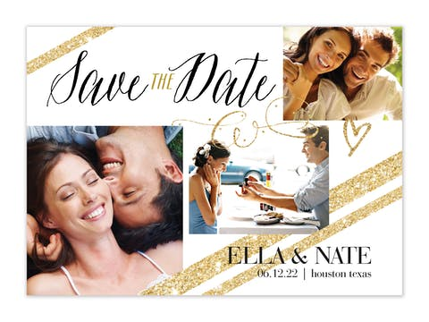 Golden Photo Save The Date Card