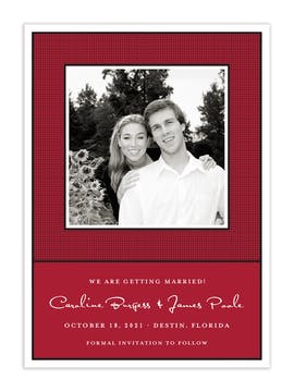 Linen Red Flat Photo Save The Date Card