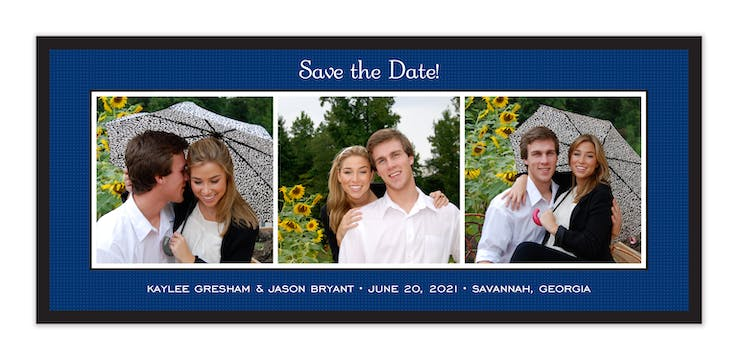 Linen Navy Flat Photo Save The Date Card