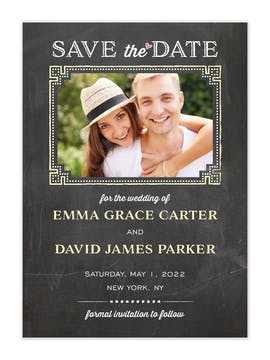 Chalkboard Chic Photo Save The Date Card