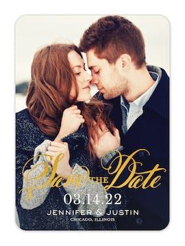 Glimmering Date Foil Pressed Photo Card