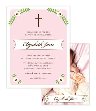 Cross and Foliage with Pink Border Sweet Petite Photo Birth Announcement