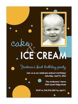 Cake & Ice Cream girl birthday photo invitation