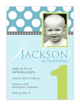 Blue and green birthday photo invitation