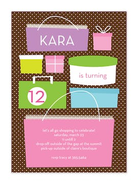 Let's Go Shopping Party Invitation
