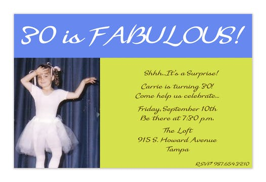 30 is Fabulous! Lime and Blue Photo Invitation