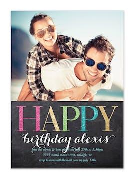 Happy Birthday Sparkle Photo Invitation