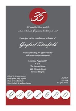 Birthday Dot - Crimson and Grey Invitation