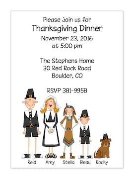Personalized Character Thanksgiving Invitation