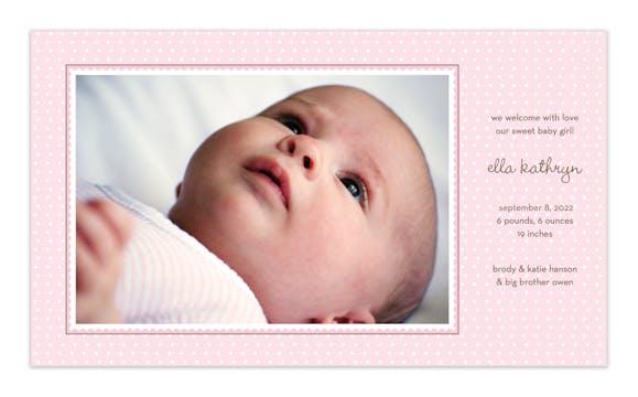 Ruffle Dots Pink Print & Apply Flat Photo Birth Announcement