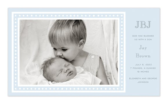 White Dotted Border Blue Print & Apply Flat Photo Birth Announcement
