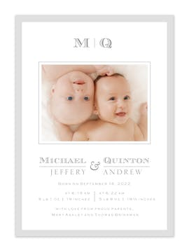 Perfectly  Framed Photo Birth Announcement