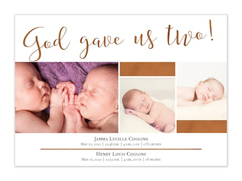 God Gave Us Two Photo Birth Announcement