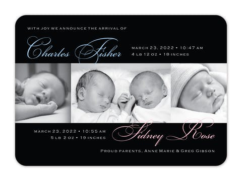 Elegant Moments For Two Photo Birth Announcement
