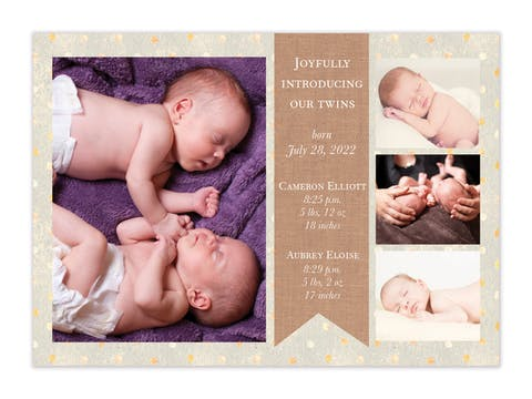 Burlap Banner Photo Birth Announcement
