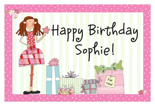 Personalized Character Birthday Girl Placemat
