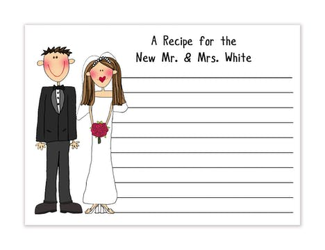 Personalized Character Wedding Recipe Card